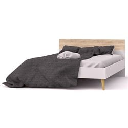 Tvilum Diana Queen Panel Bed in White and Oak
