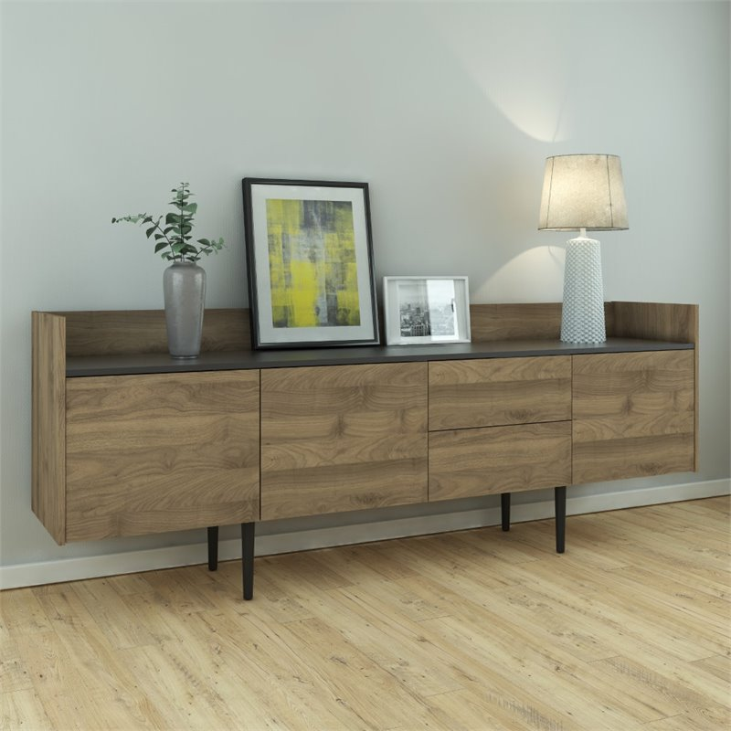 Tvilum Unit 2 Drawer and 3 Door Sideboard in Walnut and Black