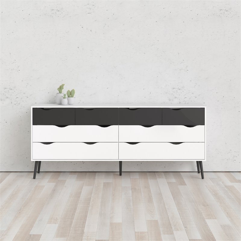 Tvilum Diana 8 Drawer Double Dresser in White and Black Matte