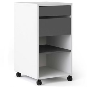 Tvilum Wade 4 Drawer Mobile File Cabinet in White and Gray