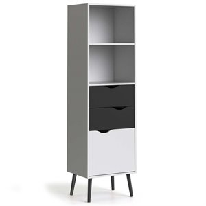 Tvilum Diana 2 Shelf Bookcase in White and Black Matte