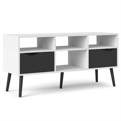 Tvilum Diana 4 Cubby TV Stand in White and Black Matte