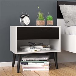 Tvilum Diana 1 Drawer Nightstand in White and Black Matte