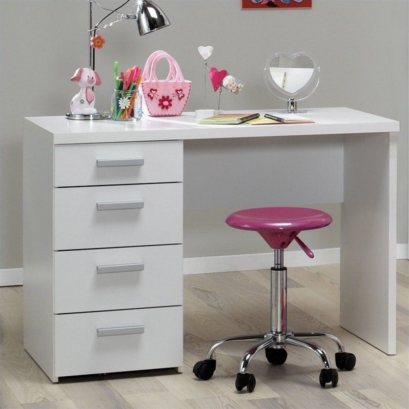 Whitman Plus Four Drawer Desk in White