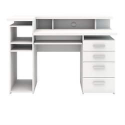 Four Drawer Computer Desk in White