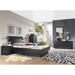 Tvilum Scottsdale Platform 4 Piece Bedroom Set in Black Woodgrain