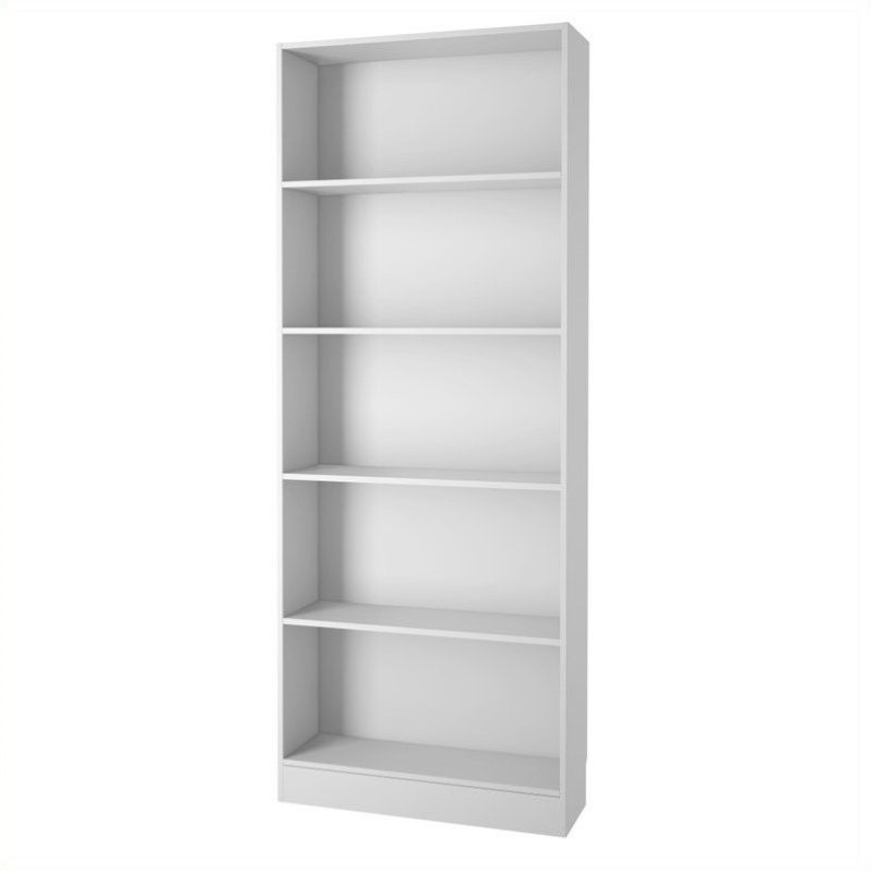 Tall Wide 5 Shelf Bookcase In White