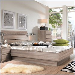 Tvilum Scottsdale 2PC Queen Platform Bed Set in Truffle