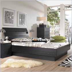 Tvilum Scottsdale 2PC Queen Platform Bed Set in Black Woodgrain
