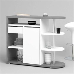 Home Bar in Grey and White High Gloss