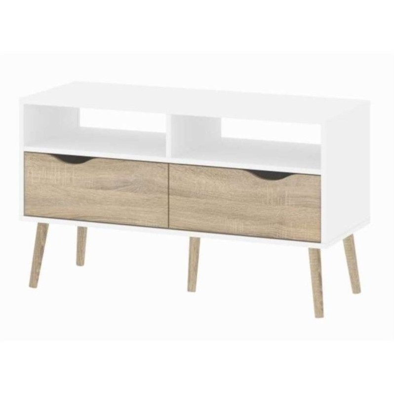 2 drawer tv stand in white oak 7538349ak - Mueble televisor ikea ...