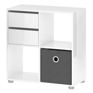 Bookcase with Cube in White Gloss