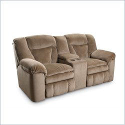 Lane Furniture Talon Double Reclining Loveseat Storage in Sahara Sand