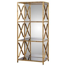 Uttermost Deedra 3 Shelf Mirrored Etagere in Antiqued Gold