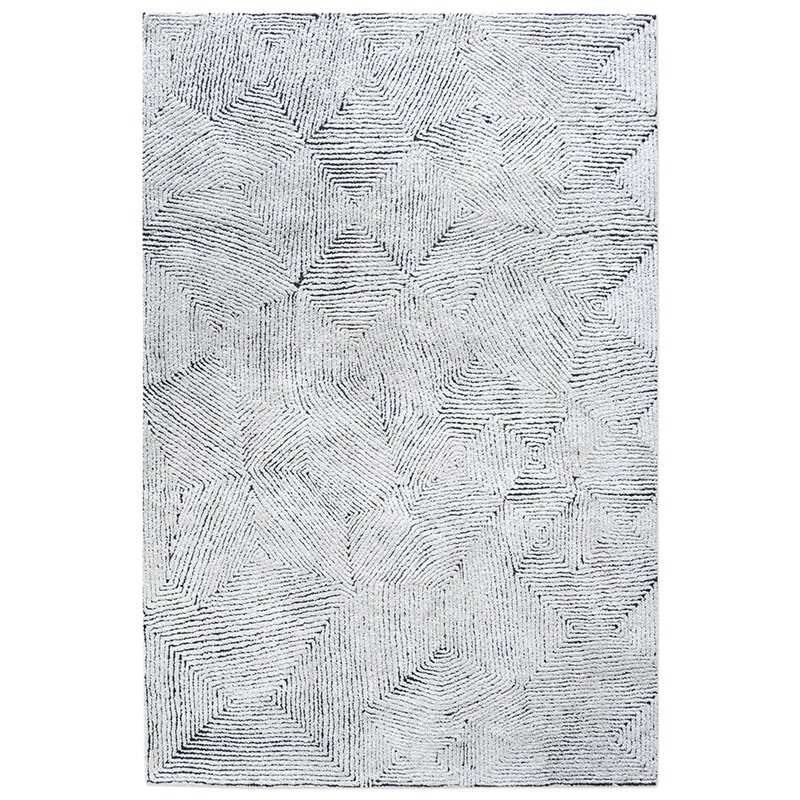 Uttermost Maze 9' x 12' Hand Tufted Wool Rug in Ivory and Denim Blue