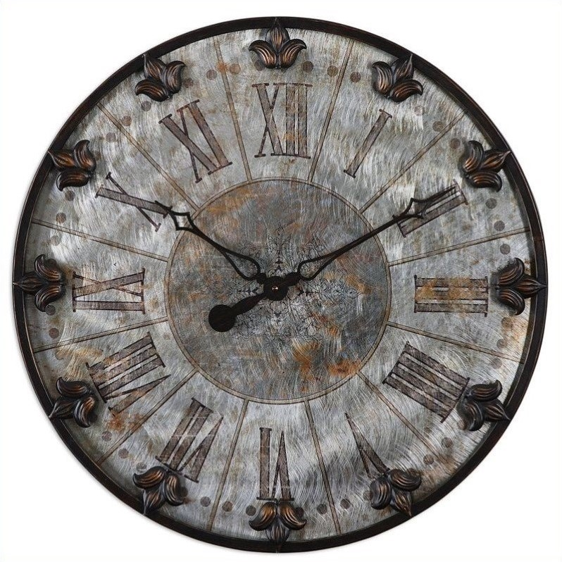Uttermost Artemis Antique Wall Clock in Brushed Aluminum