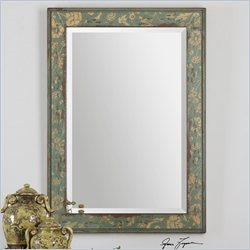 Uttermost Venosa Distressed Wall Mirror in Distressed Aged Blue Green