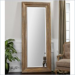 Uttermost Filiano Wood Floor Mirror in Distressed Gold Leaf