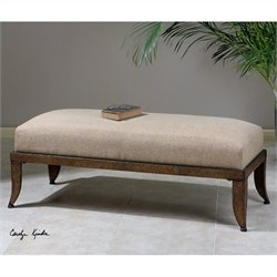 Uttermost Lanrada Upholstered Bench in Copper-Bronze-Antiqued Gold