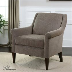 Uttermost Nelle Herringbone Creamy Beige Armchair in Dark Walnut