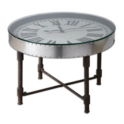 Uttermost Cassem Round Glass Clock Table in Vintage Aluminum