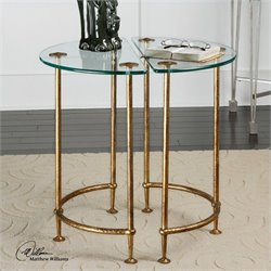 Uttermost Aralu Glass Side Tables in Antique Gold