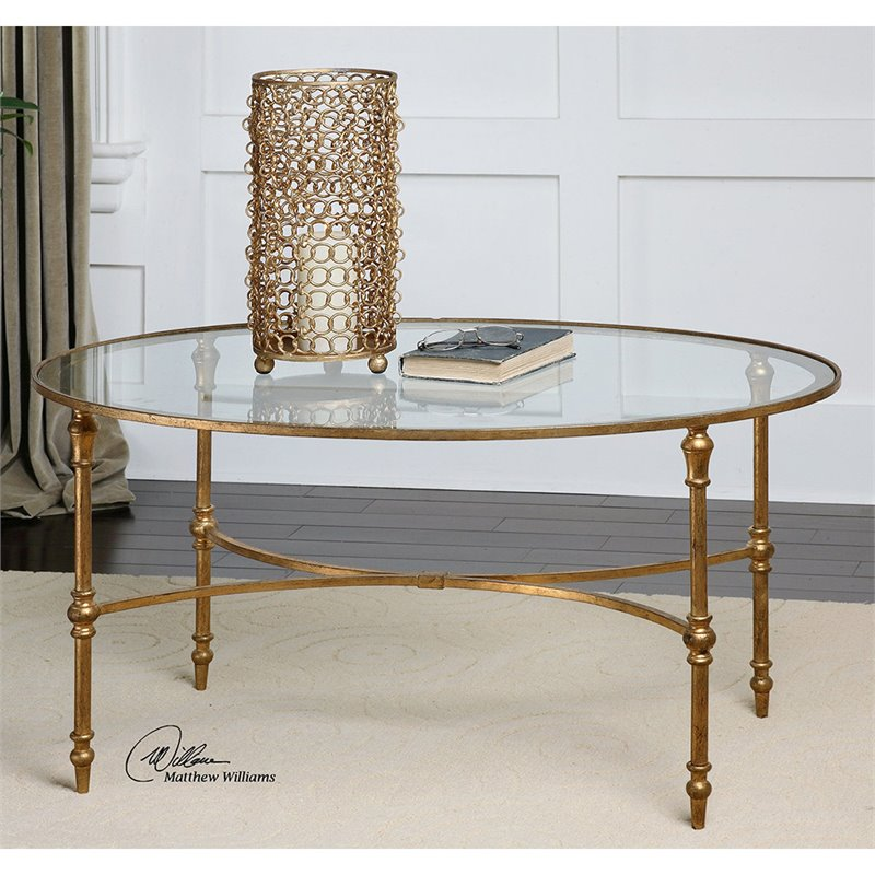 Uttermost Vitya Glass Oval Coffee Table in Gold Leafed 24338