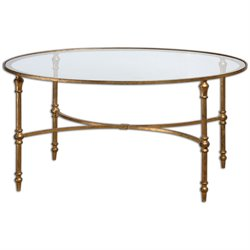 Uttermost Vitya Glass Oval Coffee Table in Gold Leafed