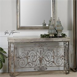 Uttermost Kissara Metal Console Table in Silvery Mercury Patina