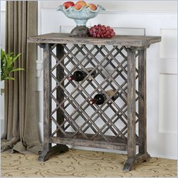 Uttermost Annileise Wooden Wine Table in Faded Weathered Charcoal