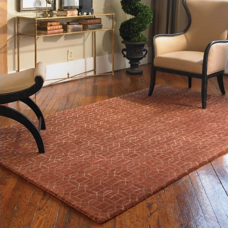 Uttermost Cambridge Wool Rug in Cinnamon Red and Gold