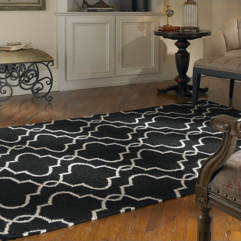 Devonshire Wool Rug in Black and Off White