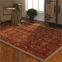 Uttermost Favara Wool Rug in Dark Red - 5 ft X 8 ft