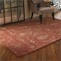 Uttermost Geneva Wool Rug in Crimson and Olive Taupe