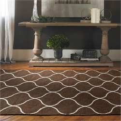 Wool Rug in Dark Chocolate and Off White