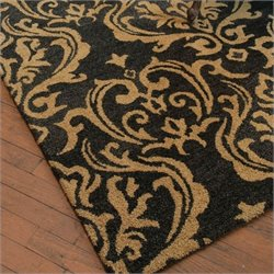 Marseille Wool Damask Rug in Dark Charcoal and Burnt Gold