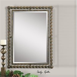 Uttermost Garrick Wrought Iron Wall Mirror in Rush Wash Black Udnertones