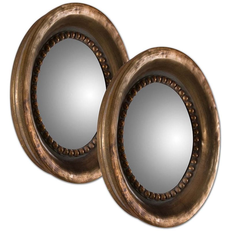 Uttermost Tropea Round Wood Mirror in Oxidized Copper (Set of 2)