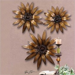 Uttermost Golden Gazanias Metal Wall Art ini Antiqued Gold (Set of 3)