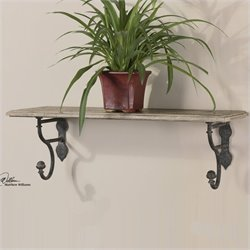 Uttermost Gualdo Aged Wood Shelf in Rustic Olive Bronze