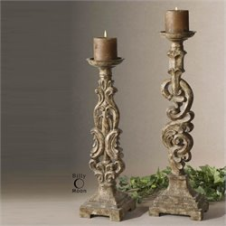Uttermost Gia Antique Candleholders in Mocha Brown (Set of 2)