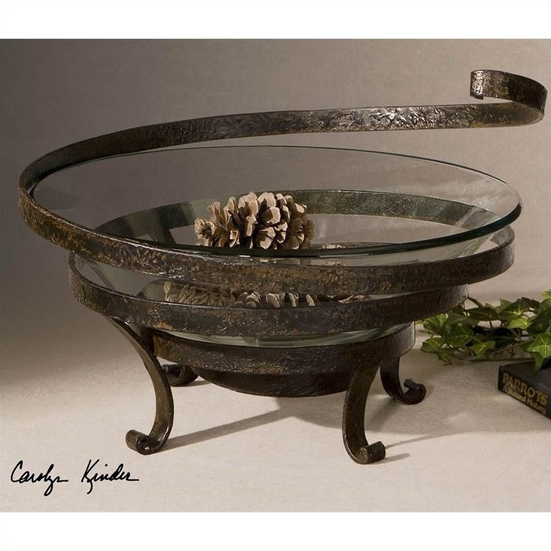 Uttermost Duff Glass And Metal Decorative Bowl In Aged