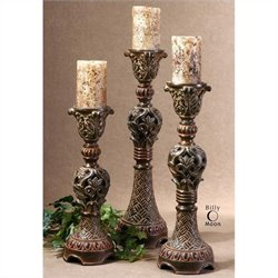 Uttermost Rosina Candlesticks in Walnut Brown (Set of 3)