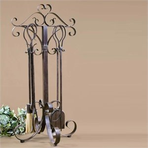 Uttermost Daymeion Metal Fireplace Tools in Cocoa Brown (Set of 5)