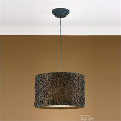 Uttermost Knotted Rattan Drum Pendant in Espresso