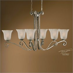 Lyon 6 Light Oval Chandelier in Antiqued Mottled Silver