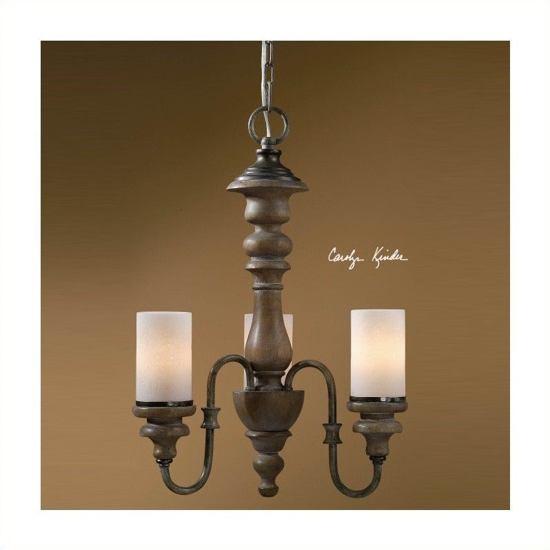 Uttermost Torreano 3 Light Solid Wood Chandelier in Aged Pecan