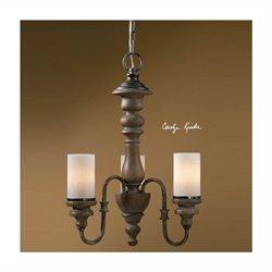 Torreano 3 Light Solid Wood Chandelier in Aged Pecan