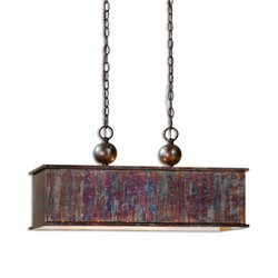 Uttermost Albiano Rectangle 2 Light Pendant in Bronze
