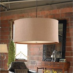 Uttermost Alamo 3 Light Lightly Antiqued Natural Burlap Drum Pendant